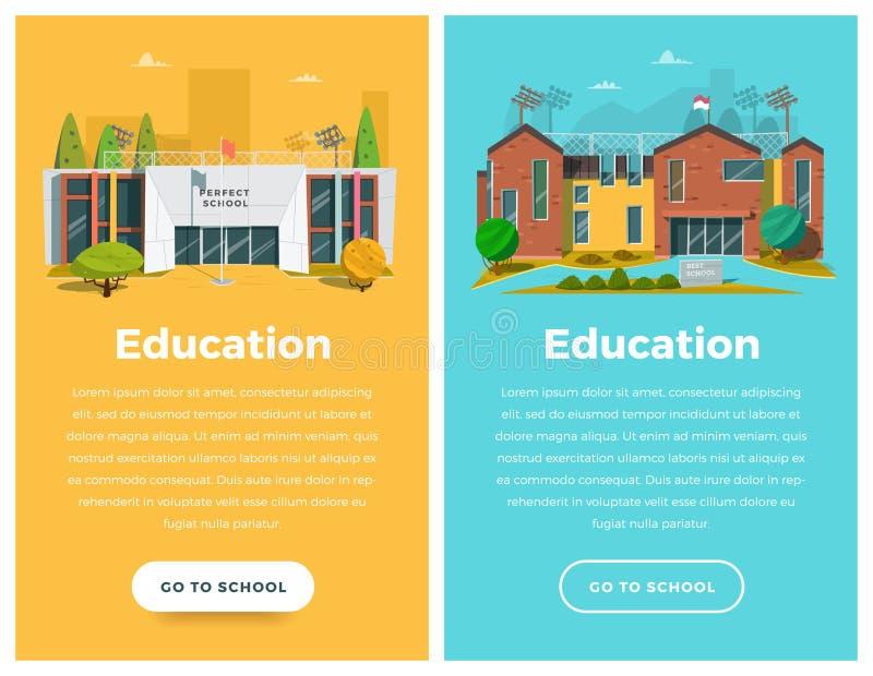 Bandera de dos verticales para el diseño web stock de ilustración