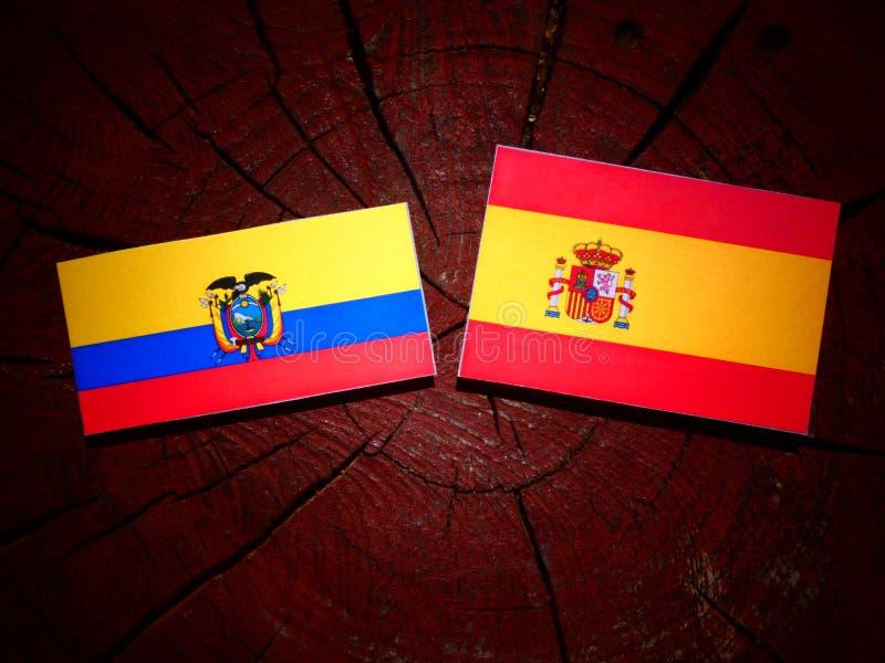 Bandera de Ecuador con la bandera española en un tocón de árbol fotografía de archivo libre de regalías