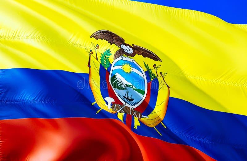 Bandera de Ecuador diseño de la bandera que agita 3D El símbolo nacional de Ecuador, representación 3D Colores nacionales y bande fotos de archivo libres de regalías