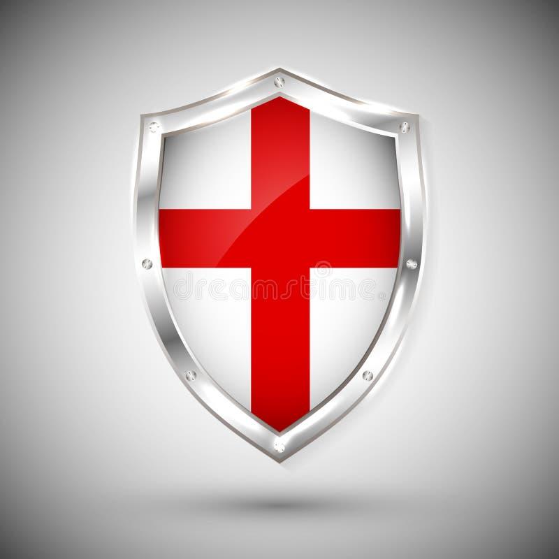 Bandera de Enfland en el ejemplo brillante del vector del escudo del metal Colección de banderas en el escudo contra el fondo bla stock de ilustración