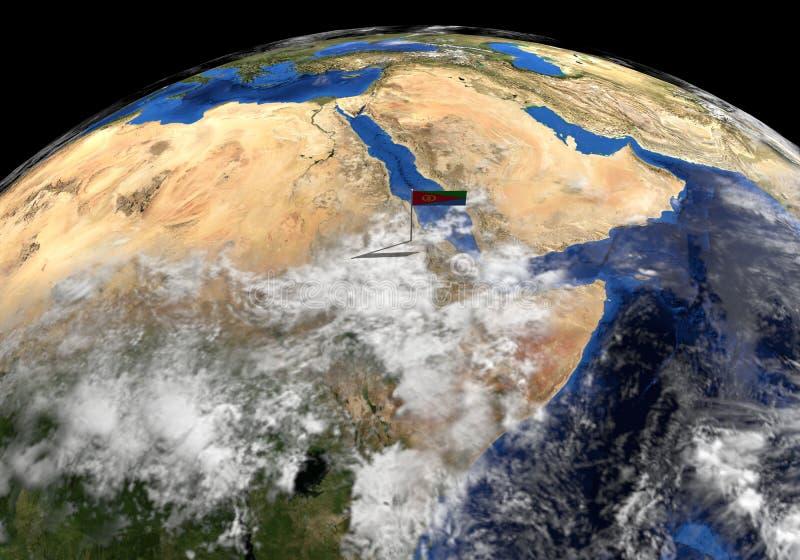 Bandera de Eritrea en polo en el ejemplo del globo de la tierra ilustración del vector