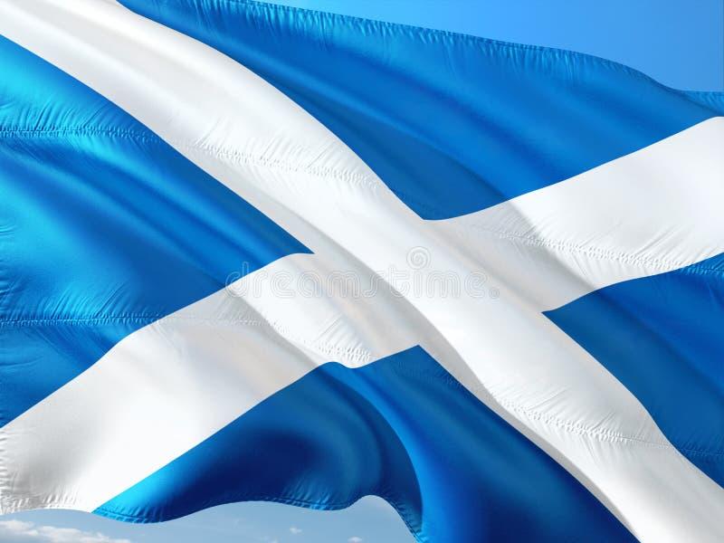 Bandera de Escocia que agita en el viento contra el cielo azul profundo Tela de alta calidad imagen de archivo