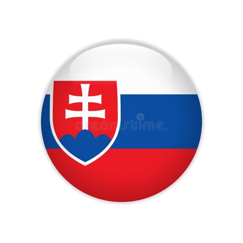Bandera de Eslovaquia en el botón stock de ilustración