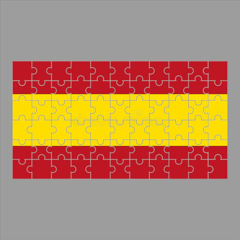 Bandera de España del rompecabezas en fondo gris ilustración del vector