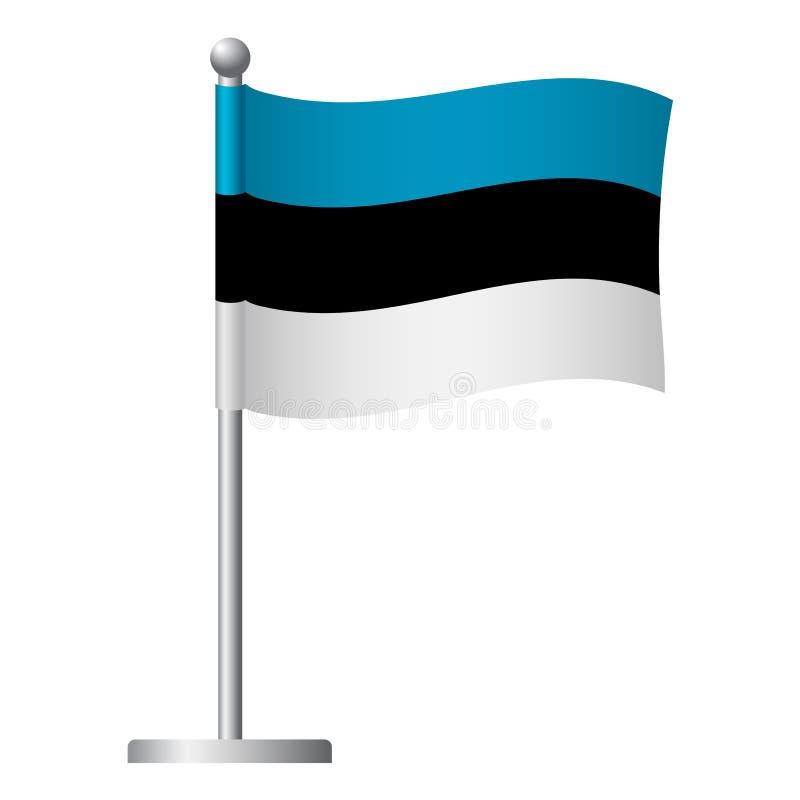 Bandera de Estonia en el icono del polo ilustración del vector