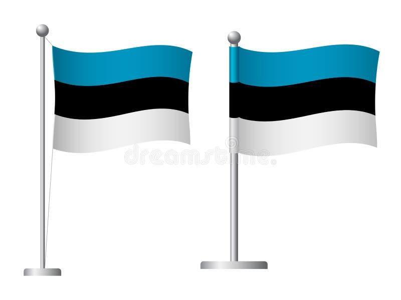 Bandera de Estonia en el icono del polo stock de ilustración