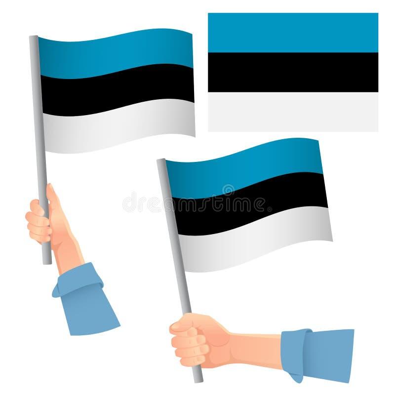 Bandera de Estonia puesta a mano libre illustration