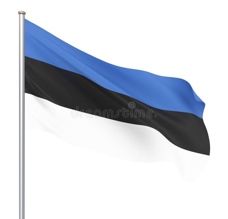 Bandera de Estonia que sopla en el viento Textura del fondo 3d representaci?n, onda A mano Aislado en blanco libre illustration