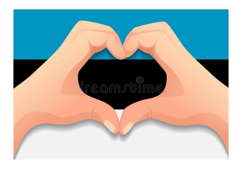 Bandera de Estonia y forma del corazón de la mano libre illustration
