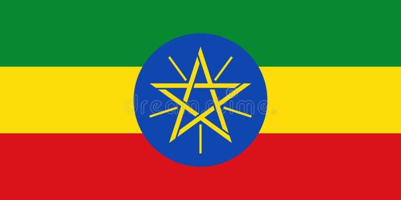 Bandera de Etiopía en colores oficiales y con la relación de aspecto de 1:2 ilustración del vector