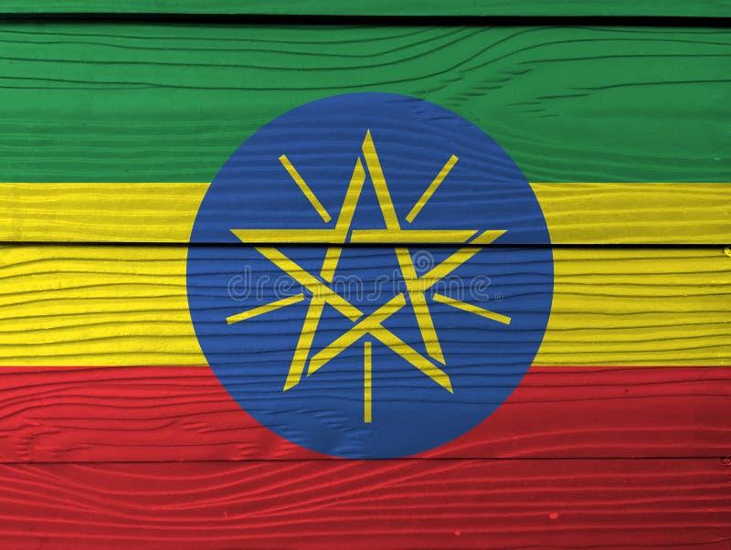 Bandera de Etiopía en fondo de madera de la pared Textura etíope de la bandera del Grunge imagen de archivo libre de regalías