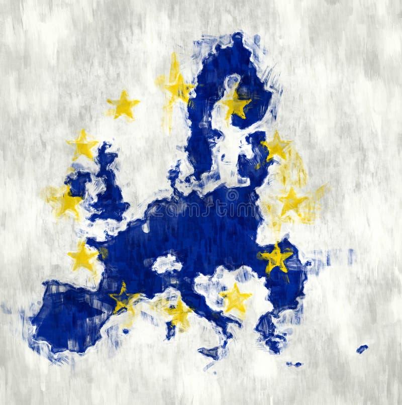 Bandera de Europa con textura de la pared del Grunge libre illustration