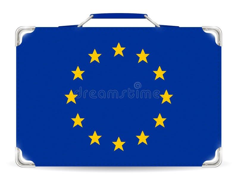 Bandera de Europa en vectora del bolso del viaje de la maleta libre illustration