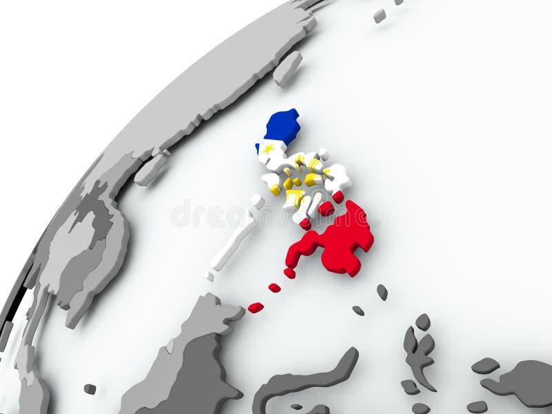 Bandera de Filipinas en el globo gris libre illustration