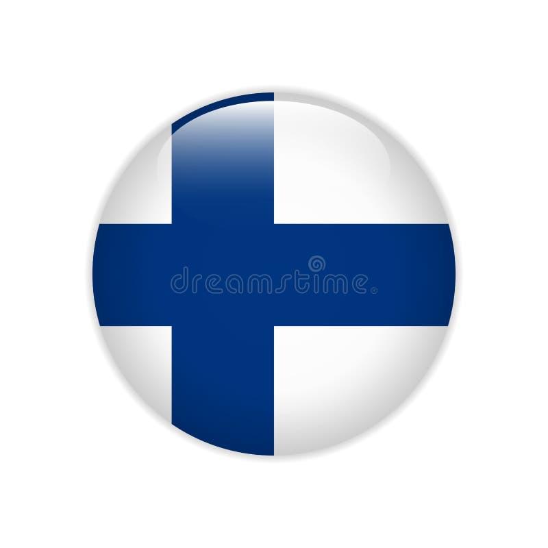 Bandera de Finlandia en el botón ilustración del vector