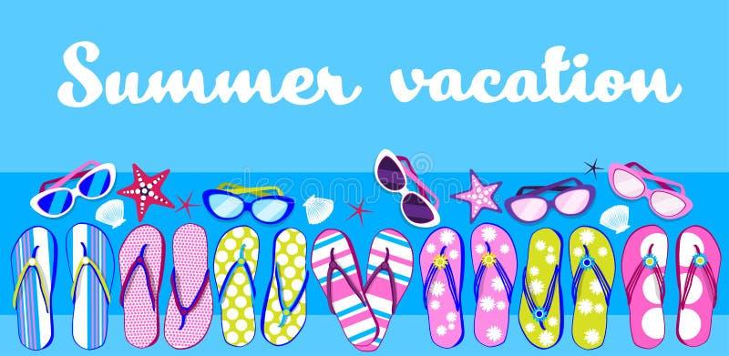 Bandera de Flip Flops Sunglasses Tropical Vacation de la playa del verano stock de ilustración