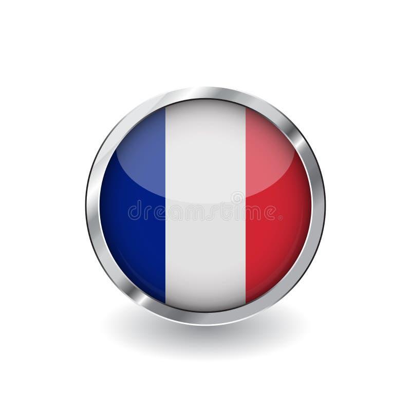 Bandera de Francia, botón con el marco metálico y la sombra icono del vector de la bandera de Francia, insignia con efecto brilla stock de ilustración