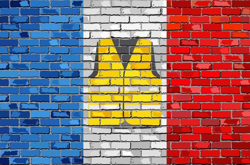 Bandera de Francia con el chaleco amarillo en una pared de ladrillo libre illustration