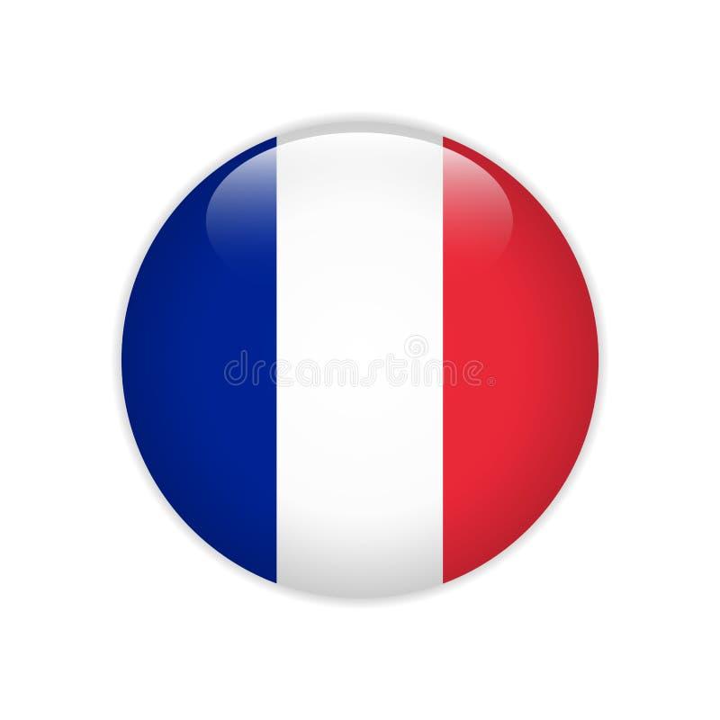 Bandera de Francia en el botón stock de ilustración
