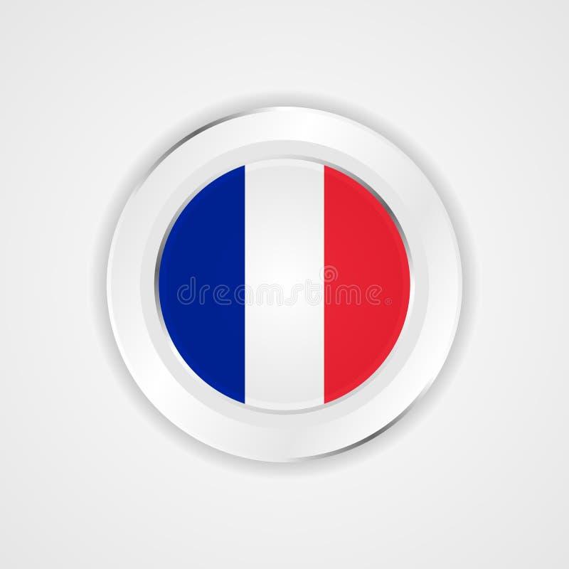 Bandera de Francia en icono brillante stock de ilustración