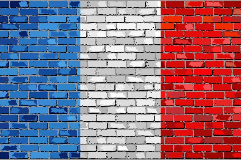 Bandera de Francia en una pared de ladrillo ilustración del vector