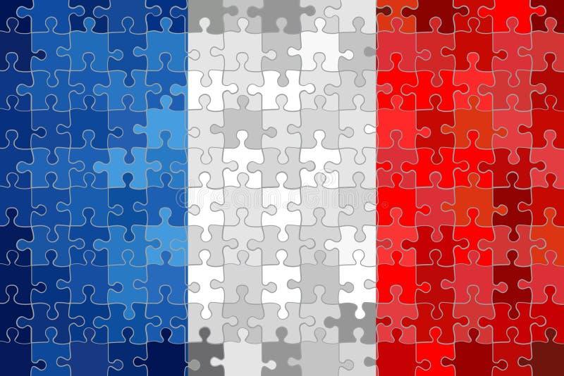 Bandera de Francia hecha de fondo del rompecabezas stock de ilustración