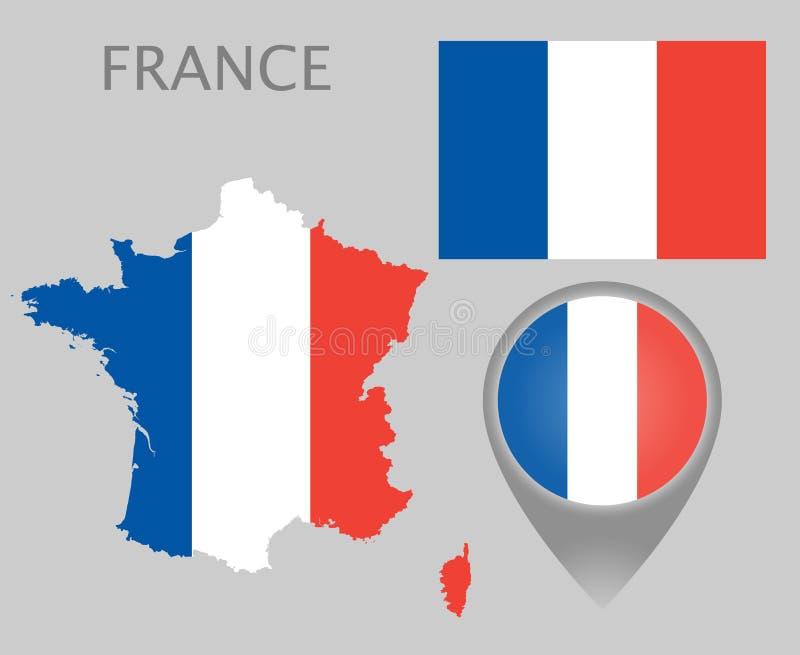Bandera de Francia, mapa e indicador del mapa ilustración del vector
