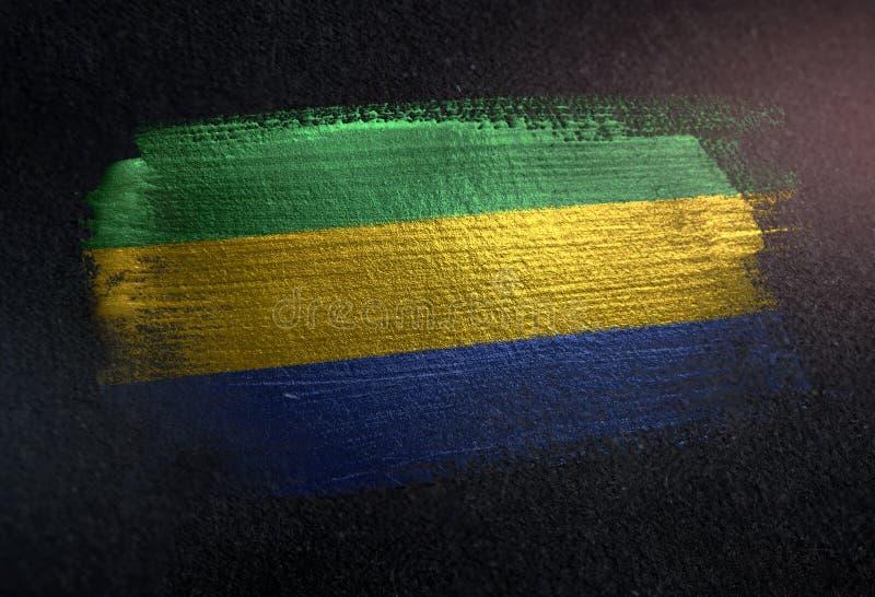 Bandera de Gabón hecha de la pintura metálica del cepillo en la pared de la oscuridad del Grunge stock de ilustración