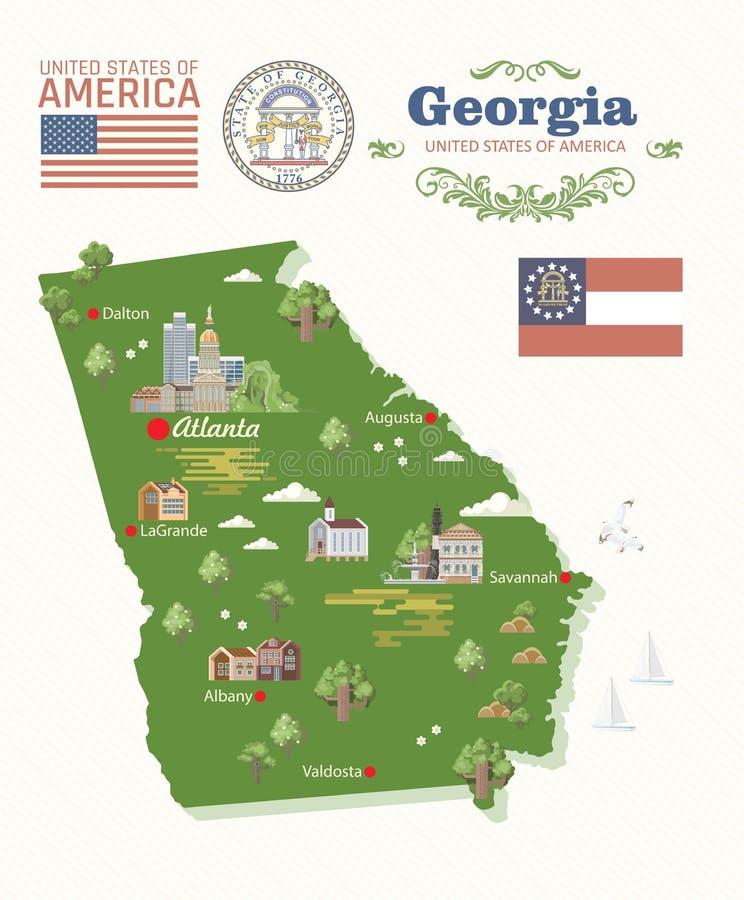 Bandera de Georgia los E.E.U.U. con el mapa Cartel del vector de estado del melocotón Fondo del viaje en estilo plano stock de ilustración