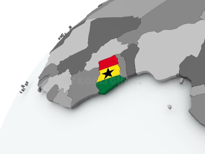 Bandera de Ghana en el globo gris ilustración del vector