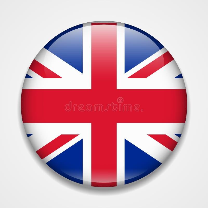 Bandera de Gran Bretaña, Reino Unido, Inglaterra Insignia brillante redonda stock de ilustración