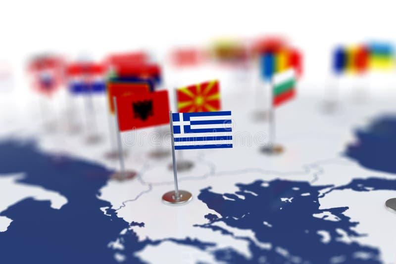 Bandera de Grecia en el foco Mapa de Europa con las banderas de países stock de ilustración