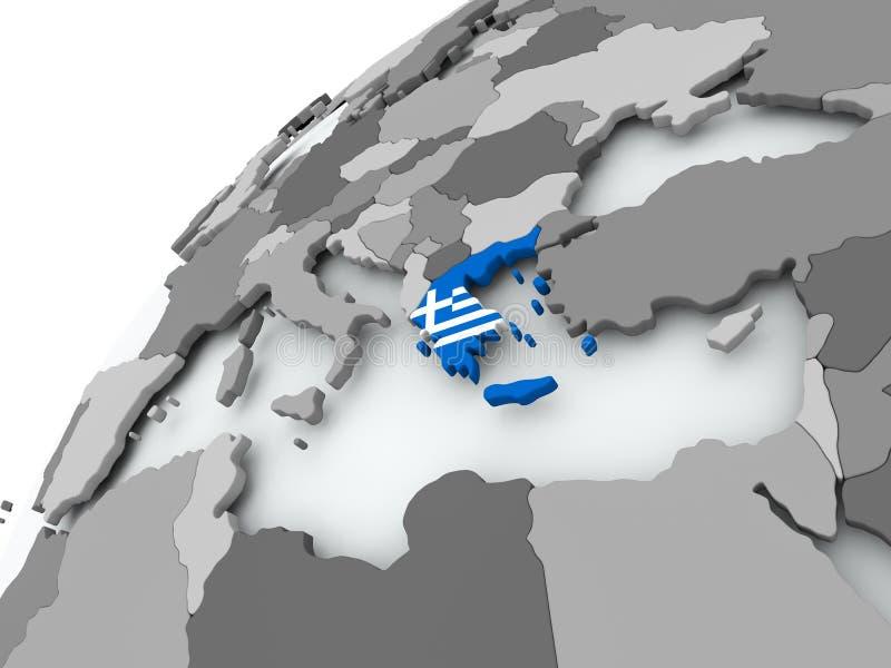 Bandera de Grecia en el globo gris ilustración del vector