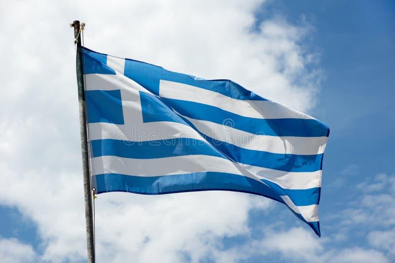 Bandera de Grecia que agita foto de archivo