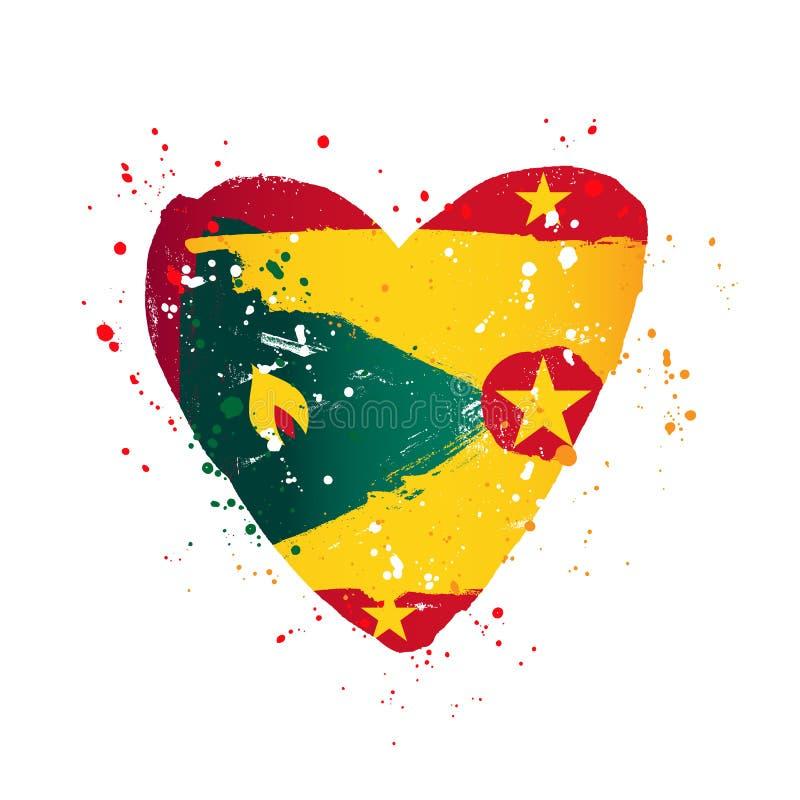 Bandera de Grenada bajo la forma de corazón grande stock de ilustración