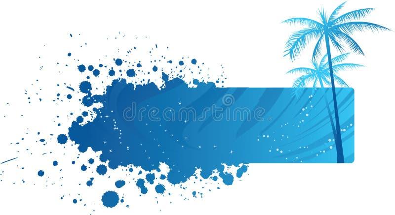 Bandera de Grunge con las palmeras ilustración del vector