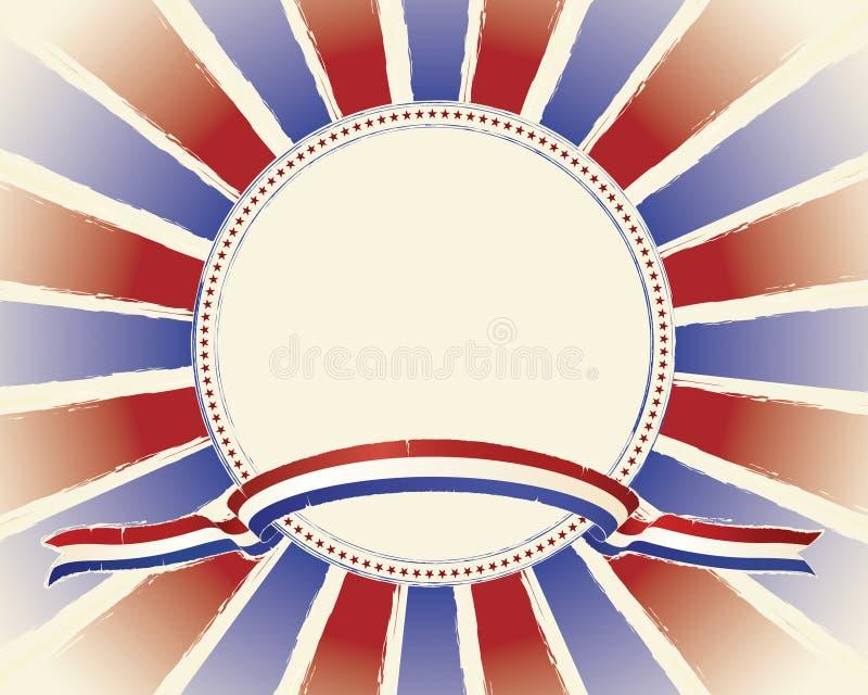 Bandera de Grunge y disposición patrióticas de la explosión ilustración del vector