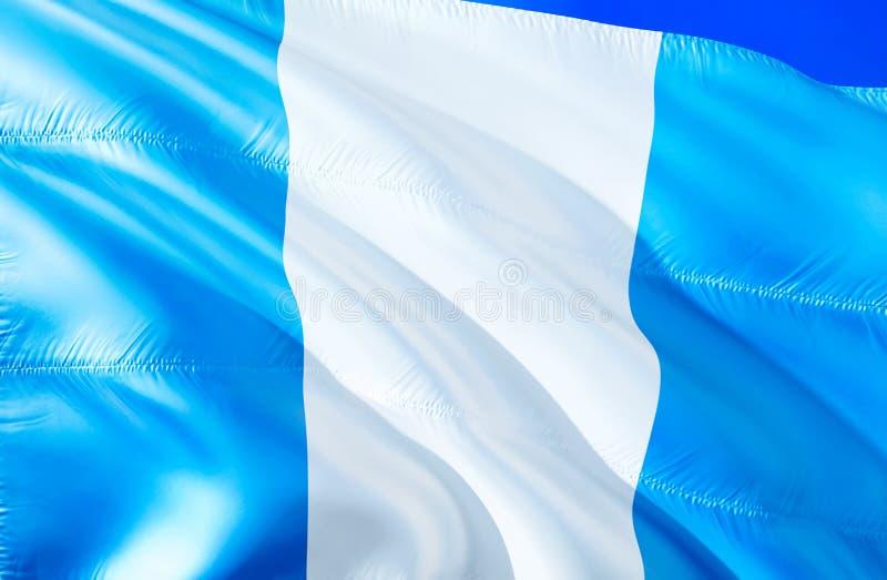Bandera de Guatemala diseño de la bandera que agita 3D El símbolo nacional de Guatemala, representación 3D Colores nacionales y S fotografía de archivo libre de regalías