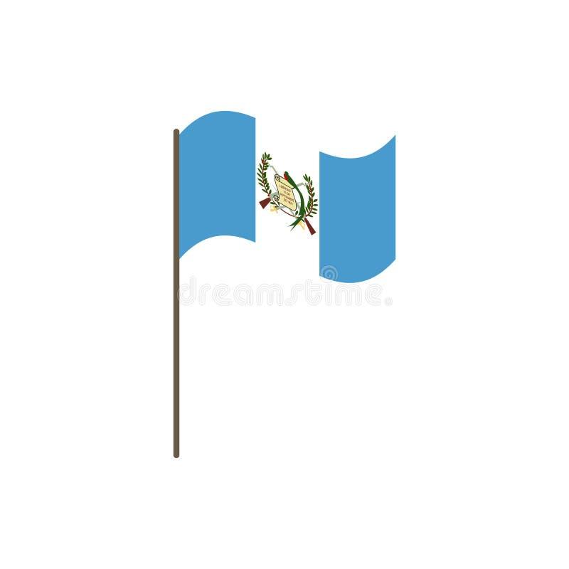 Bandera de Guatemala en la asta de bandera Colores y proporción oficiales correctamente El agitar de la bandera de Guatemala en a ilustración del vector
