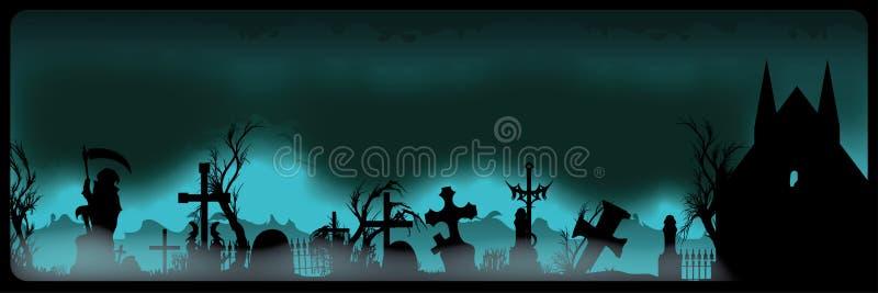 Bandera de Halloween con el cementerio libre illustration