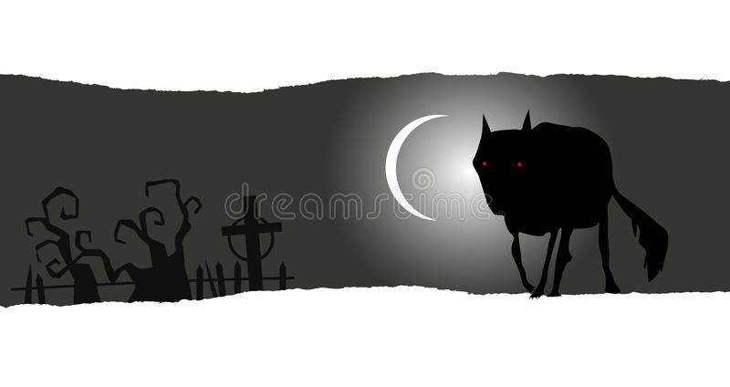 Bandera de Halloween con el lobo solitario ilustración del vector