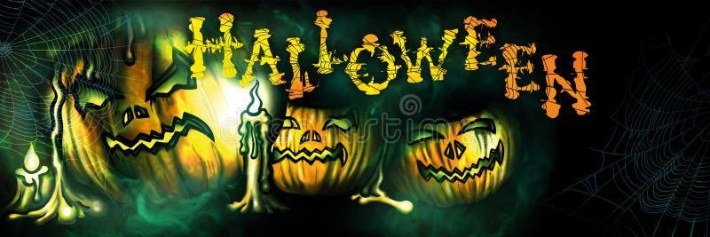 Bandera de Halloween con las calabazas siniestras stock de ilustración