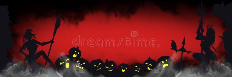 Bandera de Halloween con las siluetas siniestras stock de ilustración