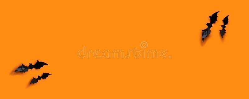 Bandera de Halloween con negro pero en un fondo anaranjado, visión superior fotos de archivo