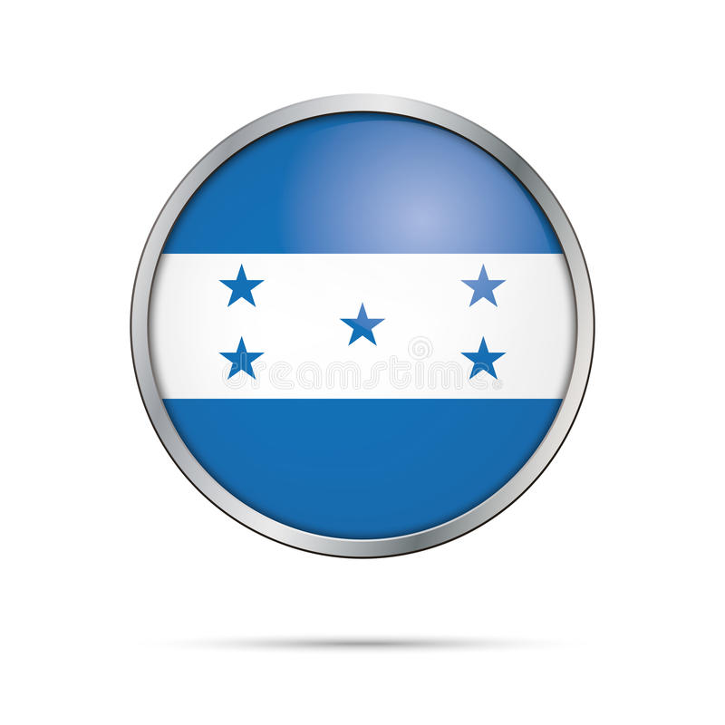 Bandera de Honduras del vector en el estilo de cristal del botón stock de ilustración