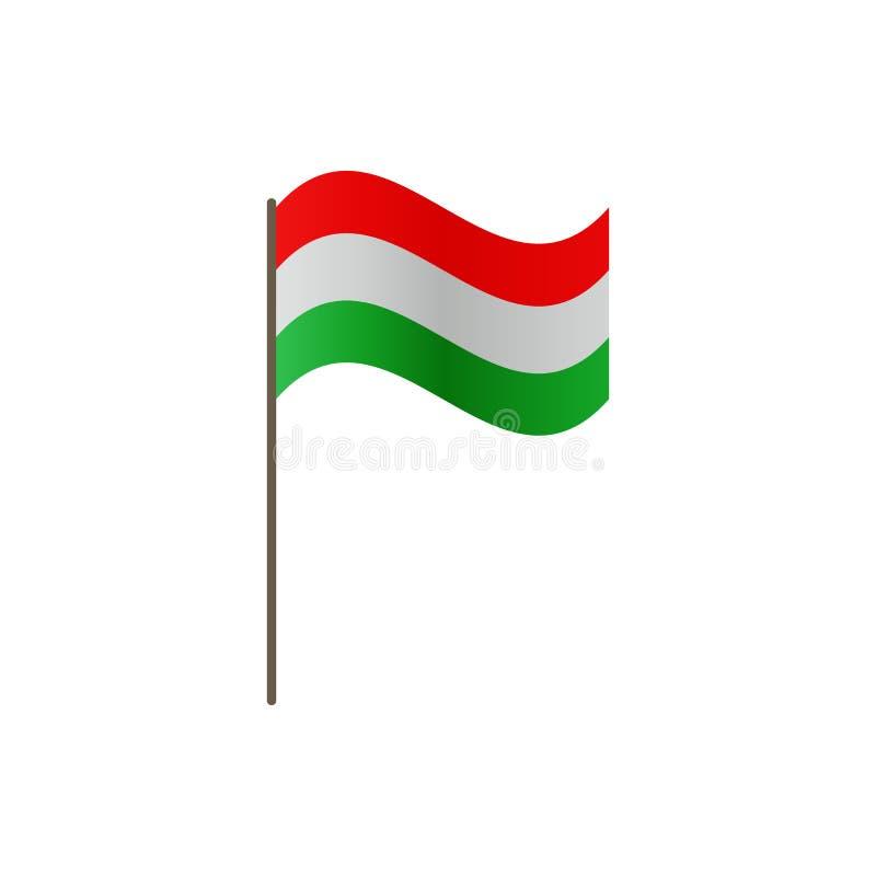 Bandera de Hungría en la asta de bandera Colores y proporción oficiales correctamente El agitar de la bandera de Hungría en asta  ilustración del vector