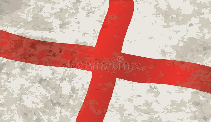 Bandera de Inglaterra y del santo George Grunge ilustración del vector