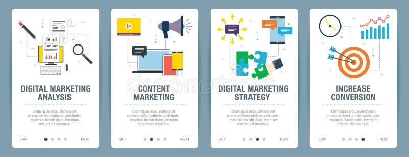 Bandera de Internet fijada con la comercialización iconos digitales, del analytics y de la estrategia ilustración del vector