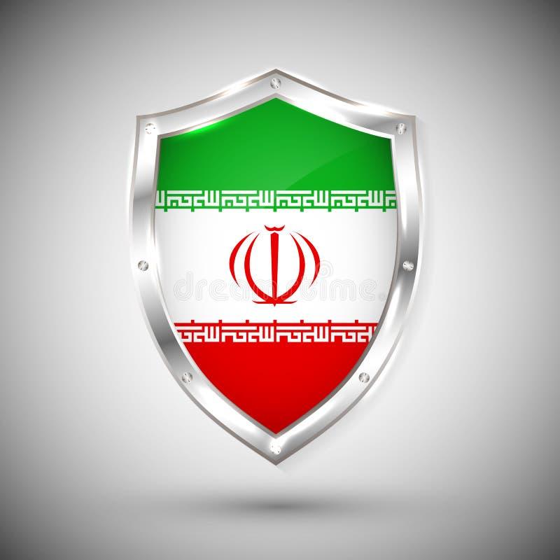 Bandera de Irán en el ejemplo brillante del vector del escudo del metal Colección de banderas en el escudo contra el fondo blanco ilustración del vector