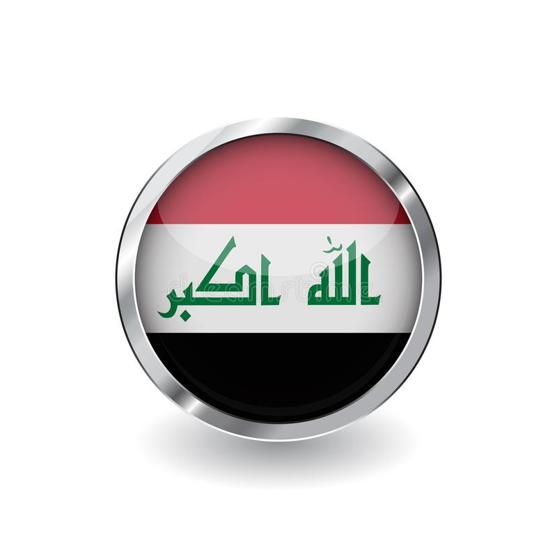 Bandera de Iraq, botón con el marco metálico y la sombra icono del vector de la bandera de Iraq, insignia con efecto brillante y  stock de ilustración